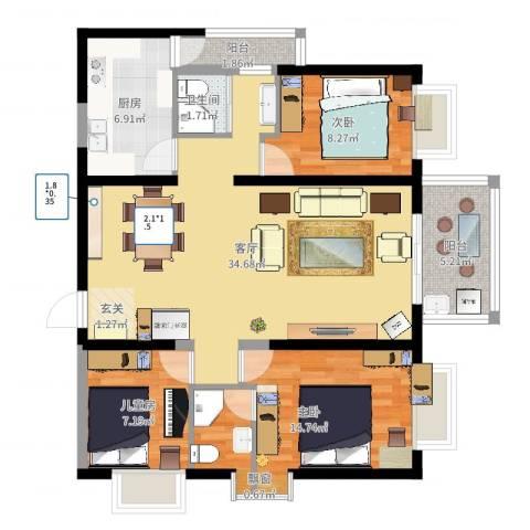 警备区龙华公寓3室1厅1卫1厨101.00㎡户型图