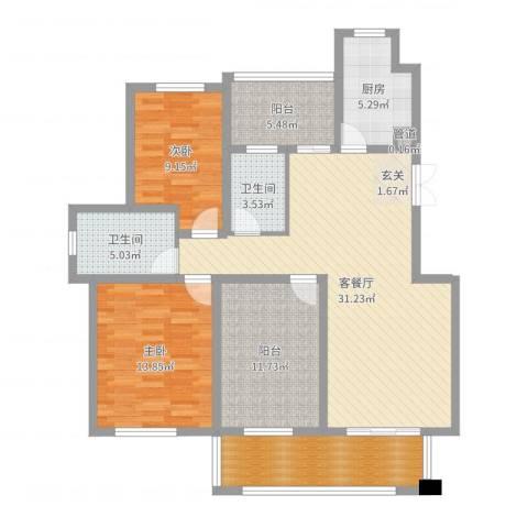 温哥华城・金水河畔2室2厅2卫1厨117.00㎡户型图