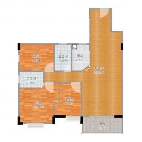 金叶阳光新城3室2厅2卫1厨90.00㎡户型图