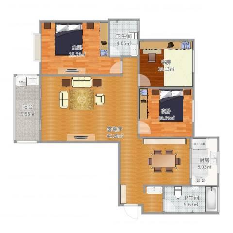 交警支队家属院3-9-西3室2厅2卫1厨127.00㎡户型图