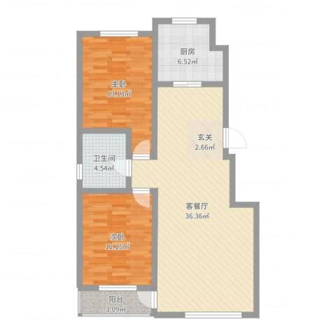 金御蓝湾2室2厅1卫1厨95.00㎡户型图