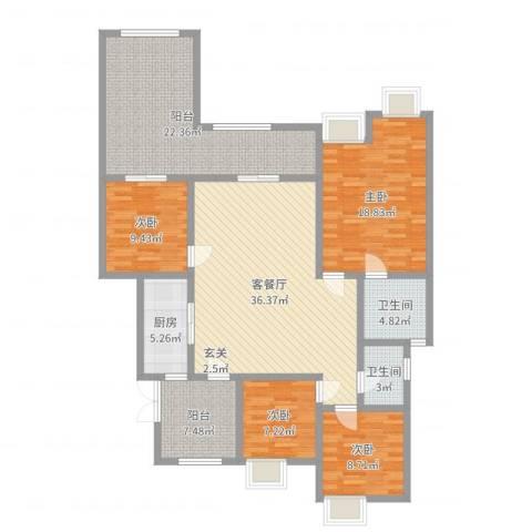 约克郡上林洋房4室2厅2卫1厨154.00㎡户型图
