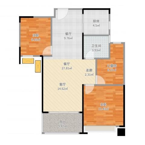 绿地玫瑰城3室1厅1卫1厨84.00㎡户型图