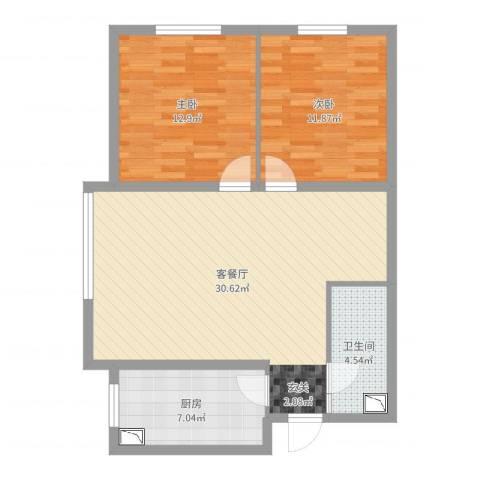 金域明珠2室2厅1卫1厨84.00㎡户型图