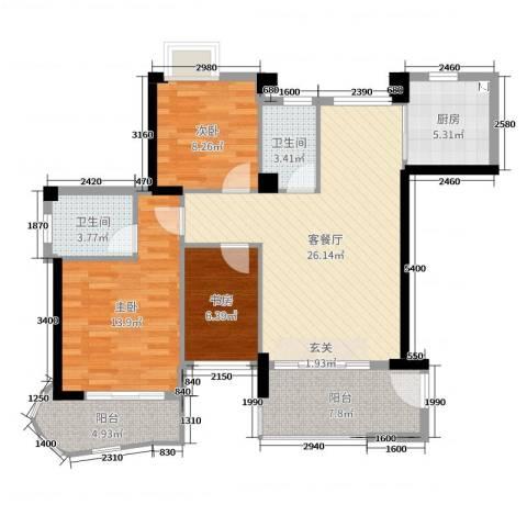 静海湾3室2厅2卫1厨99.00㎡户型图