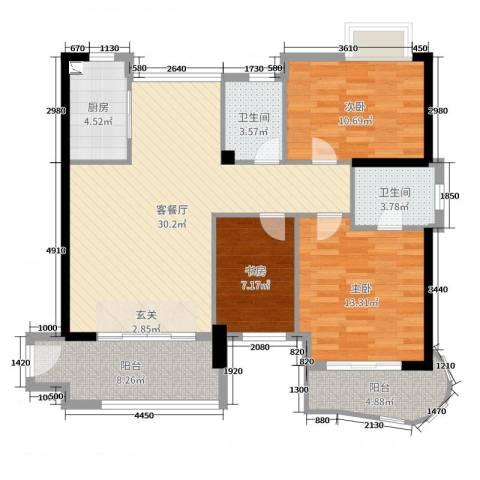 静海湾3室2厅2卫1厨108.00㎡户型图