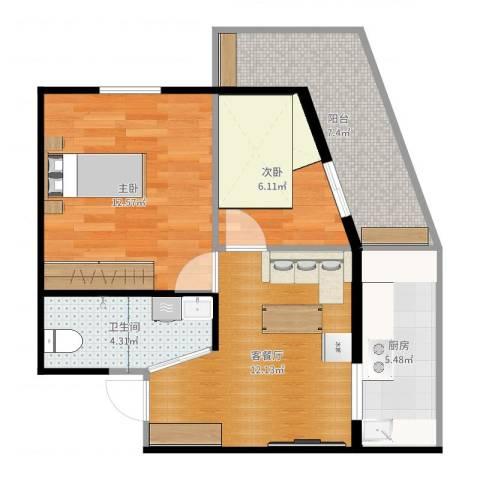 北兴教育园1号方案2室2厅1卫1厨60.00㎡户型图