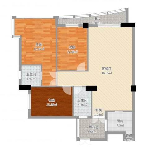 华腾碧水映象3室2厅2卫1厨123.00㎡户型图