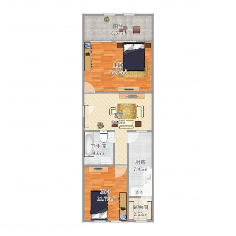 芍药居北里2室1厅1卫1厨84.00㎡户型图