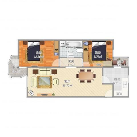 芍药居北里2室1厅1卫1厨79.00㎡户型图
