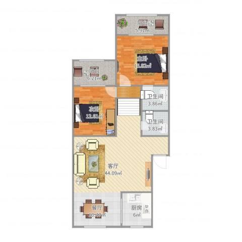 环东佳苑2室1厅2卫1厨125.00㎡户型图