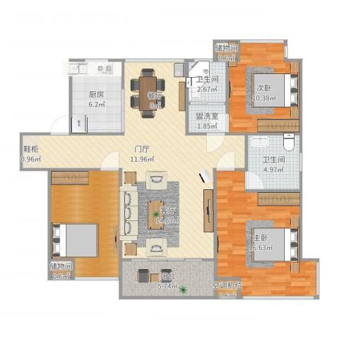 张家港中凯城市之光2室2厅2卫1厨122.00㎡户型图