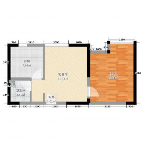 东方今典1室2厅1卫1厨55.00㎡户型图