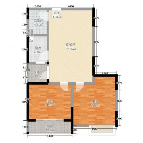 东方今典2室2厅1卫1厨104.00㎡户型图