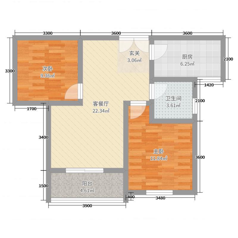福随花园87.00㎡B户型2室2厅1卫1厨