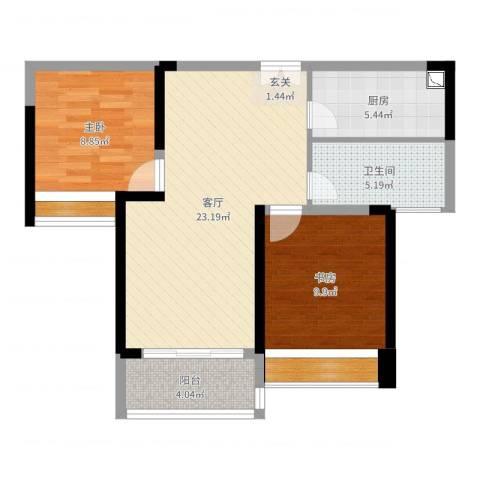 深业泰然观澜玫瑰轩2室1厅1卫1厨74.00㎡户型图
