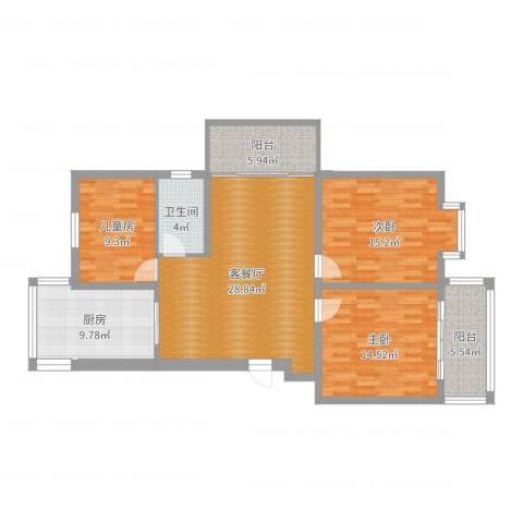 中江国际花苑3室2厅1卫1厨117.00㎡户型图