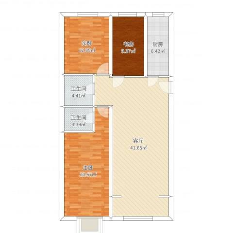 盛达鑫苑3室1厅2卫1厨123.00㎡户型图