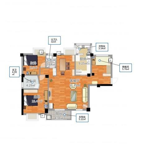漳州港开发区招商花园城2室2厅2卫1厨120.00㎡户型图