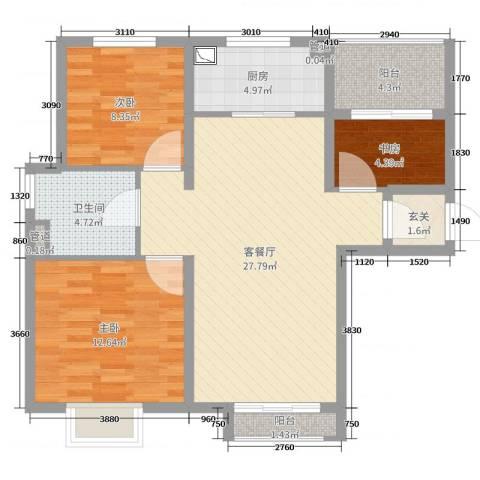 旭辉十九城邦3室2厅1卫1厨88.00㎡户型图