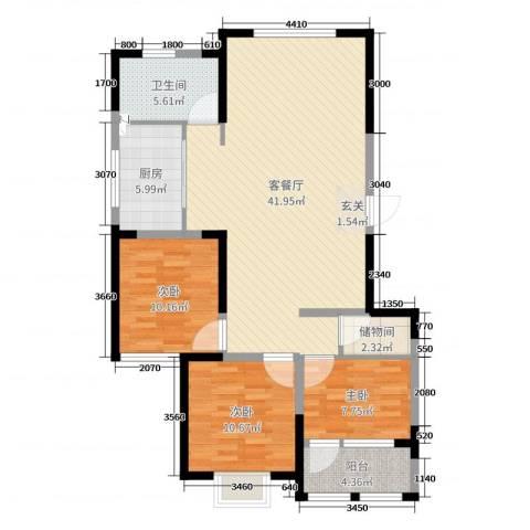 华都颐年园3室2厅1卫1厨111.00㎡户型图