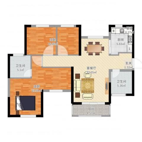 惠阳恒大棕榈岛2室2厅2卫1厨116.00㎡户型图