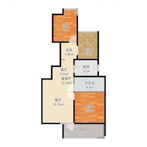 新江湾佳苑2室2厅1卫1厨69.00㎡户型图