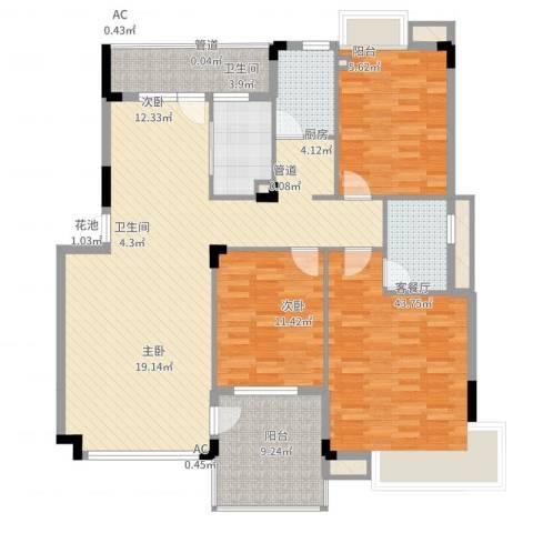 恒瑞蓝湾印象3室2厅2卫1厨162.00㎡户型图
