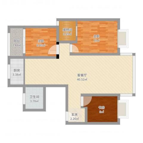 鑫湖缘时代广场3室2厅1卫1厨105.00㎡户型图