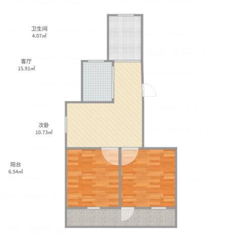 流水东苑2室1厅1卫1厨67.00㎡户型图