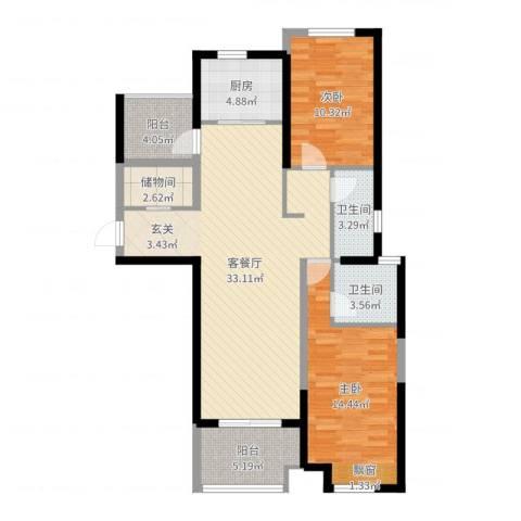 保利建业・香槟国际2室2厅2卫1厨102.00㎡户型图