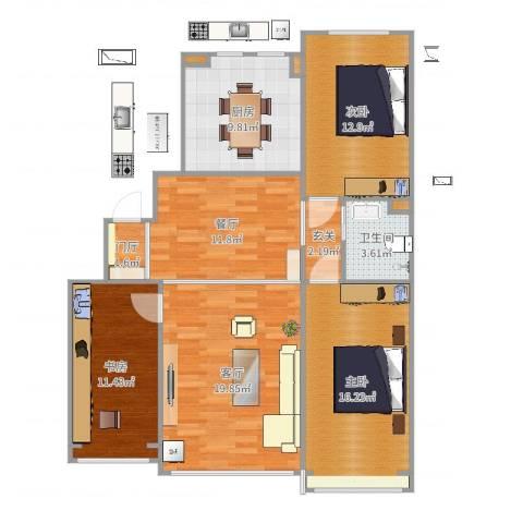 地铁名典小区3室2厅1卫1厨99.00㎡户型图