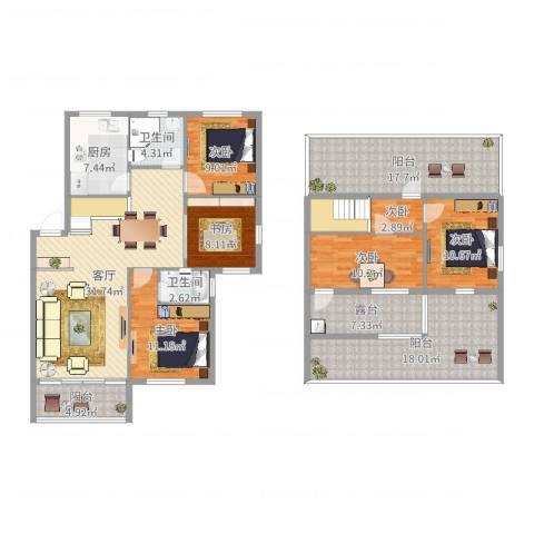塘西新村6室1厅2卫1厨189.00㎡户型图