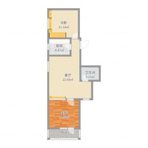 双紫小区2室1厅1卫1厨71.00㎡户型图