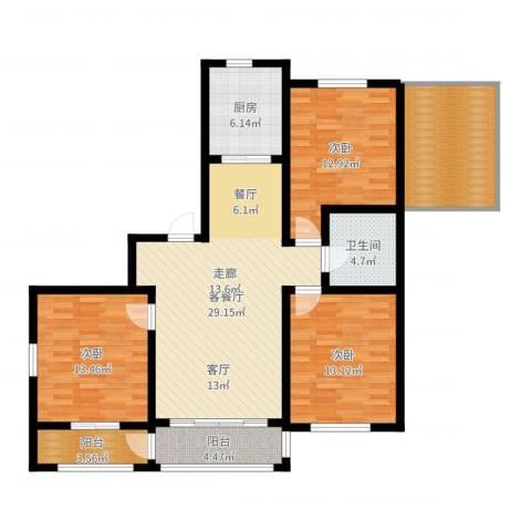 意大利风情小镇3室2厅1卫1厨123.00㎡户型图