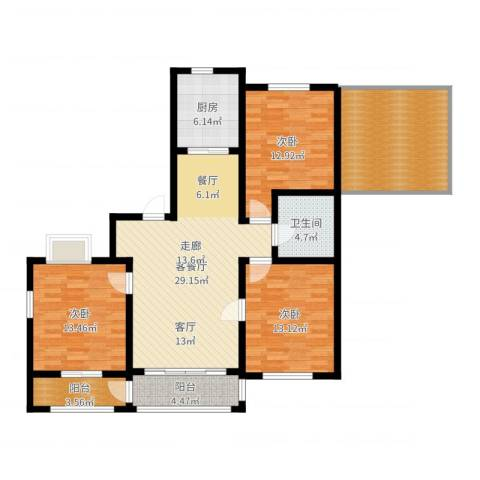 意大利风情小镇3室2厅1卫1厨128.00㎡户型图