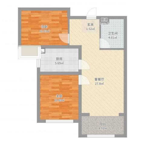 融科瀚棠2室2厅1卫1厨73.00㎡户型图