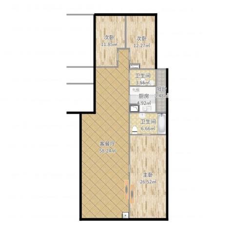 御翠湾1653室2厅2卫1厨160.00㎡户型图