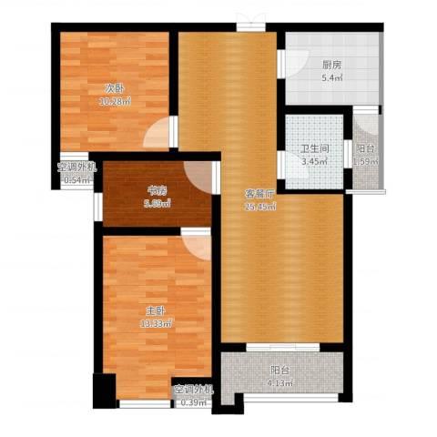 鼎盛国际3室2厅1卫1厨88.00㎡户型图