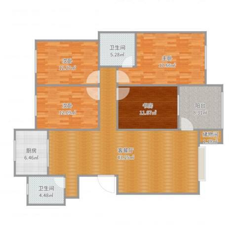 彰德人家4室2厅2卫1厨153.00㎡户型图