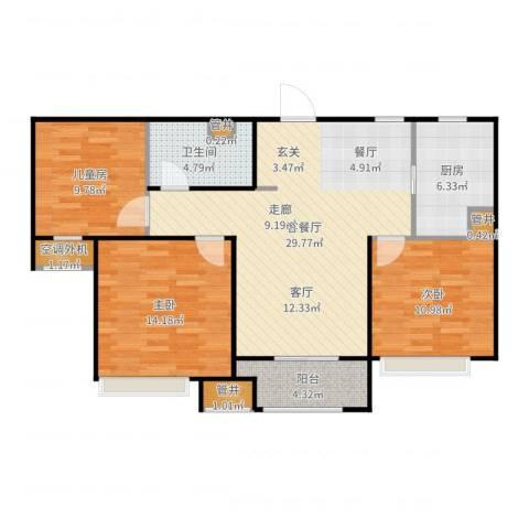 勿删_测试套餐数据23室2厅1卫1厨104.00㎡户型图