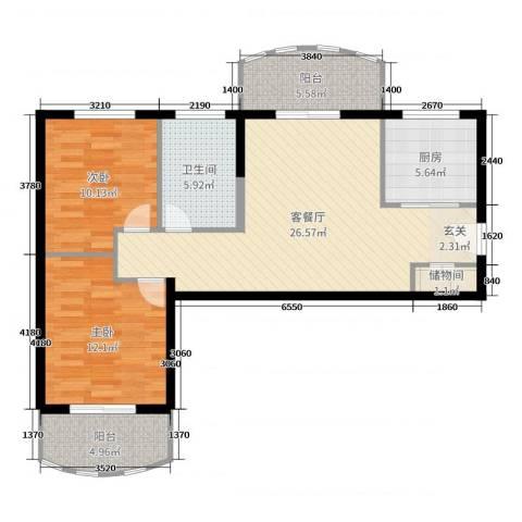 汉武国际城2室2厅1卫1厨90.00㎡户型图