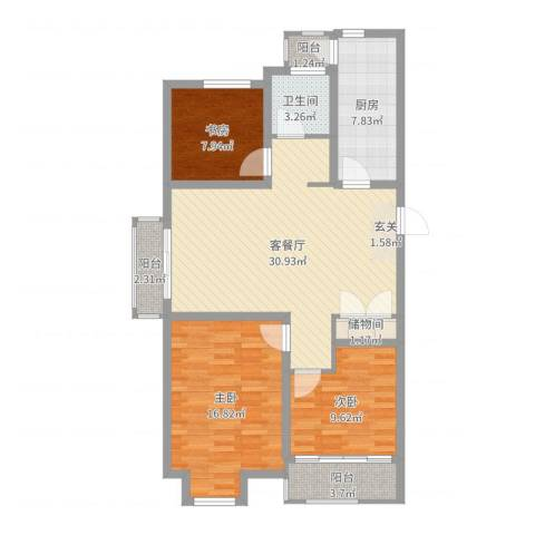 边城香榭里8号3室2厅1卫1厨106.00㎡户型图