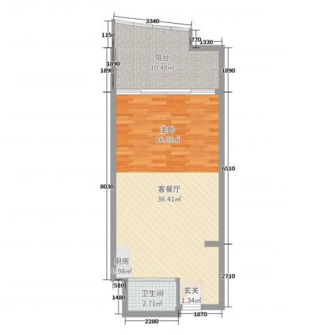 博鳌亚洲湾2厅1卫0厨62.00㎡户型图