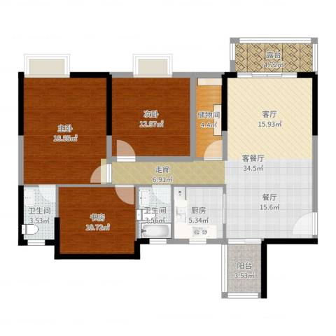 富山居花园3室2厅2卫1厨127.00㎡户型图