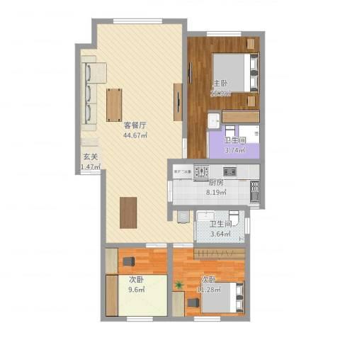 佰仕・印象3室2厅2卫1厨121.00㎡户型图