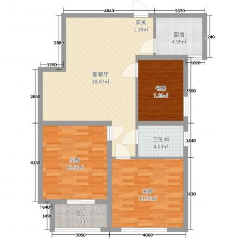 南门华府3室2厅1卫1厨95.00㎡户型图