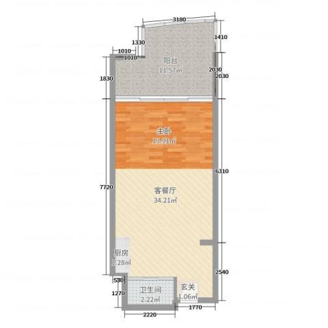 博鳌亚洲湾2厅1卫0厨60.00㎡户型图