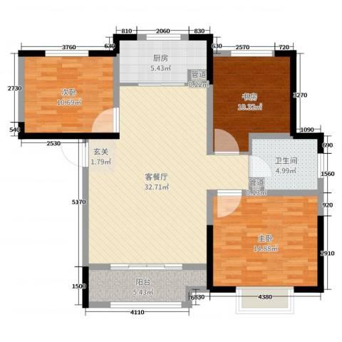 融汇城・玫瑰公馆3室2厅1卫1厨106.00㎡户型图