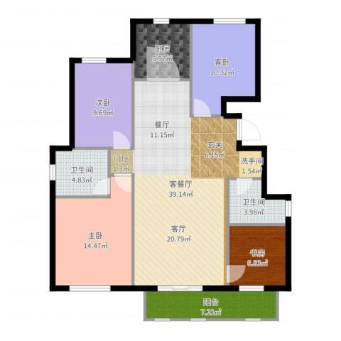 首开香溪郡4室2厅2卫1厨128.00㎡户型图
